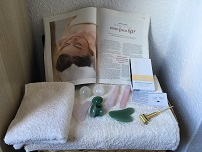 Picture of the crystals and facial tools used in the treatment.
